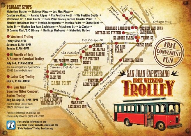San Juan Capistrano Summer Trolley 2021 Map