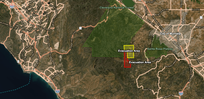 Southern California Chaparral Fire Evacuation Map Saturday August 28 2021