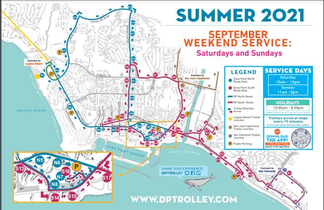 Dana Point Weekend Trolley Map September 2021