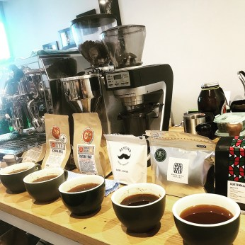 数種のコーヒーのテイスティング