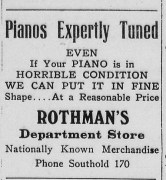 Rothman's ad in Long Island Traveler newspaper, 1934