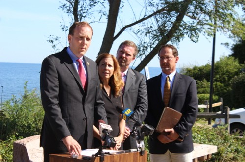 Congressman Lee Zeldin and environmental advocates at a September 2015 press conference objecting to the plan to continue dumping waste into the Long Island Sound for the next 30 years. File photo: Katie Blasl
