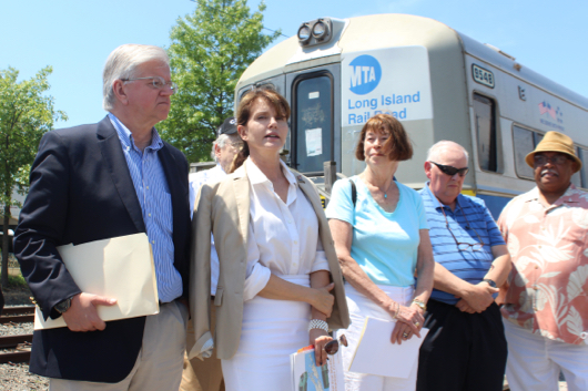 Assemblyman Fred Thiele was joined by congressional candidate Anna Throne-Holst at a press conference in Riverhead last month announcing a July 8 meeting with the LIRR to discuss expanded service on the East End. Photo: Katie Blasl