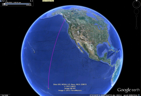 When we leave Rupert the most direct route is appox. 4000nm.