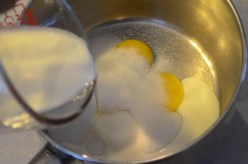 4 egg yolks then add sugar, vanilla sugar, cream