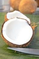 Use half of coconut meat, peel brown skin off