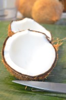 Use half of coconut meat, peel brown skin off