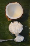 use food processor blend half of coconut meat get one cup