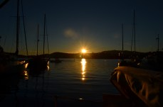 watching the sunset from the dock