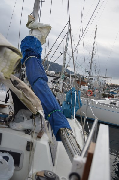 The mast bring down to rail. lessons the weight aft as we have removed the forestay