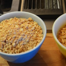 Coarsely chopped cashew nuts and peanuts.