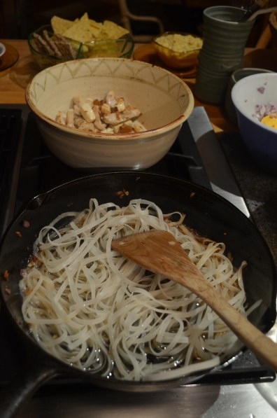 Set aside and the add rice noodles with water.
