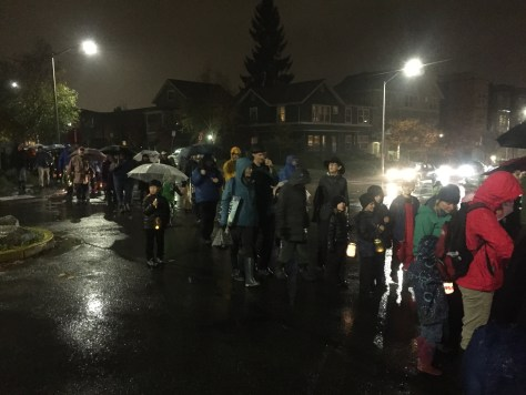 South End community members brave the way during the lantern walk.