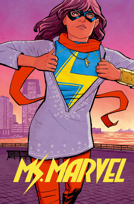 "Cover art from ""Ms. Marvel"" issue #1 (art by Cliff Chiang)"