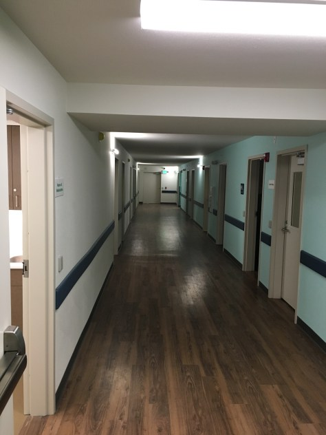 Image 2 Caption--The building has an air of a hospital with wall protectors for gurneys in addition to touches like faux-wood linoleum floors.