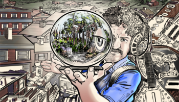 Illustration depicting a stylized Beau Hebert in a blue collared shirt holding out a crystal ball with his eye and scenes of park/nature. Behind Beau are illustrations of Columbia City along with musical instruments and gears.