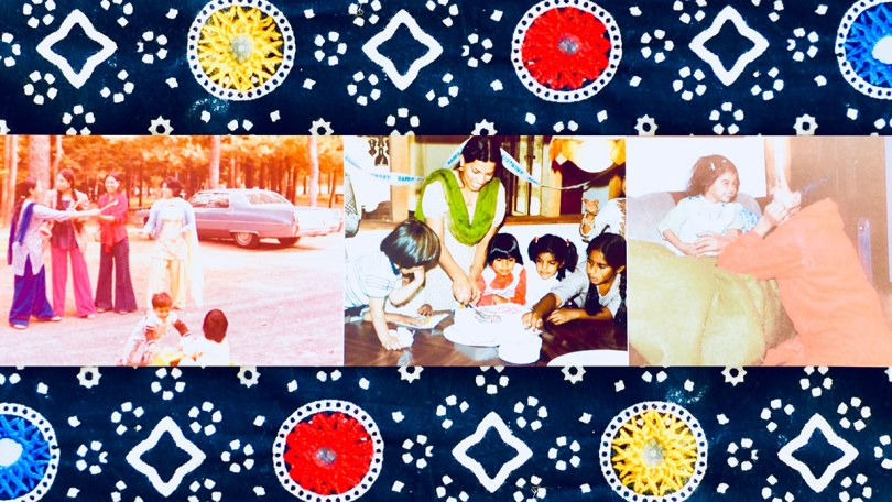 3 vintage photographs of a South Asian- and female-presenting individual with their children surrounded by an indigo blue border with red, yellow, and blue embroidered circles as well as white printed patterns