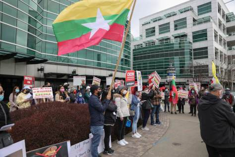 Around 50 people came out to protest the violent crackdown happening in Burma/Myanmar, in an event sponsored by Save Burma/Myanmar Seattle.