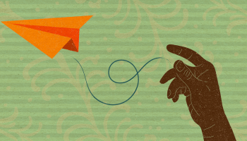 Illustration of Black-presenting hand releasing an orange paper airplane