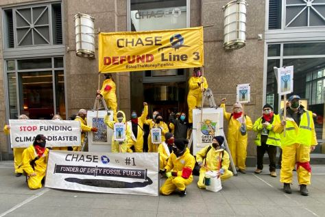Protestors protest against Chase Bank and Line 3 in 2021.