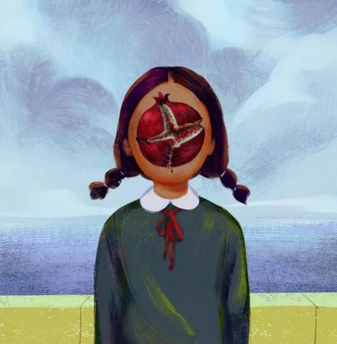 Illustration d'une femme présentant une grenade ouverte à la place de son visage.