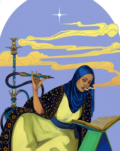 Illustration depicting a female-presenting person holding a hookah and reading from a book with smoke or vapor billowing from her mouth.