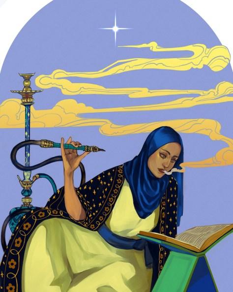 Illustration représentant une artiste féminine tenant un narguilé et lisant un livre avec de la fumée ou de la vapeur s'échappant de sa bouche.