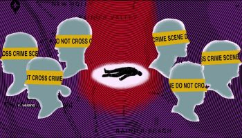 Digital illustration of silhouettes of people's profiles against a stylized South Seattle map backdrop, the faces yellow have crime scene tape over their eyes, and the silhouette of a body lay in the center of the image.