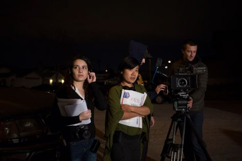 Hua (center) on the set of her UCLA thesis film Searching Skies.