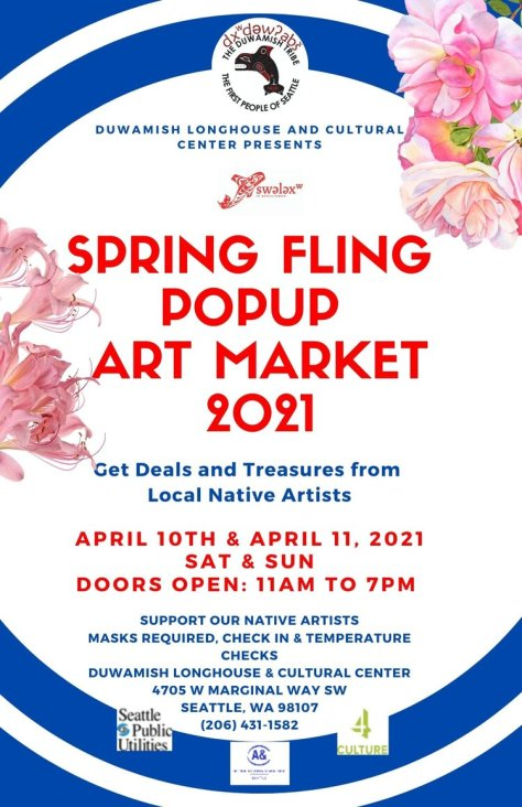"Blue and white designed event flyer with red text that reads ""Spring Fling Popup Art Market 2021"""