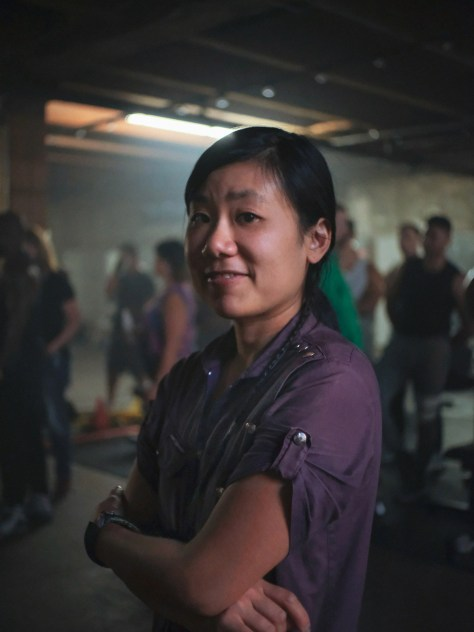 Hua on the set of The Paper Tigers, a feature film in this year's Seattle Asian American Film Festival.