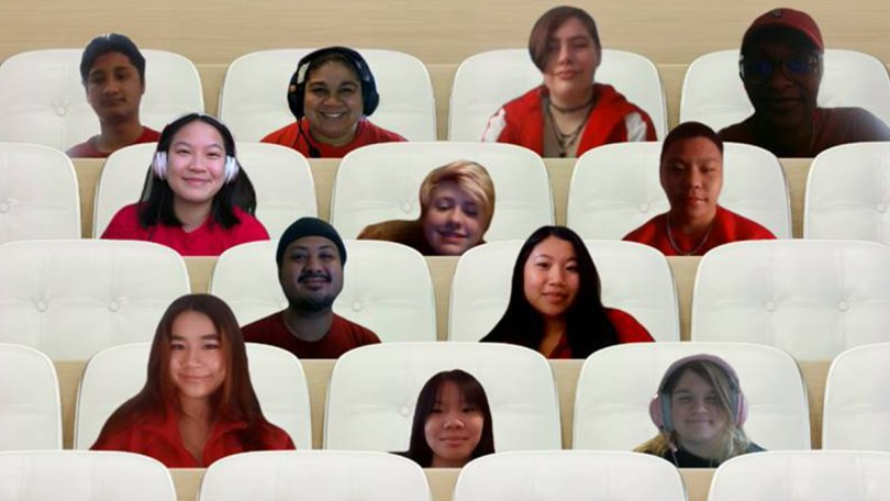 Virtual headshots of Cleveland High School students and staff members planning the mutual aid drive.