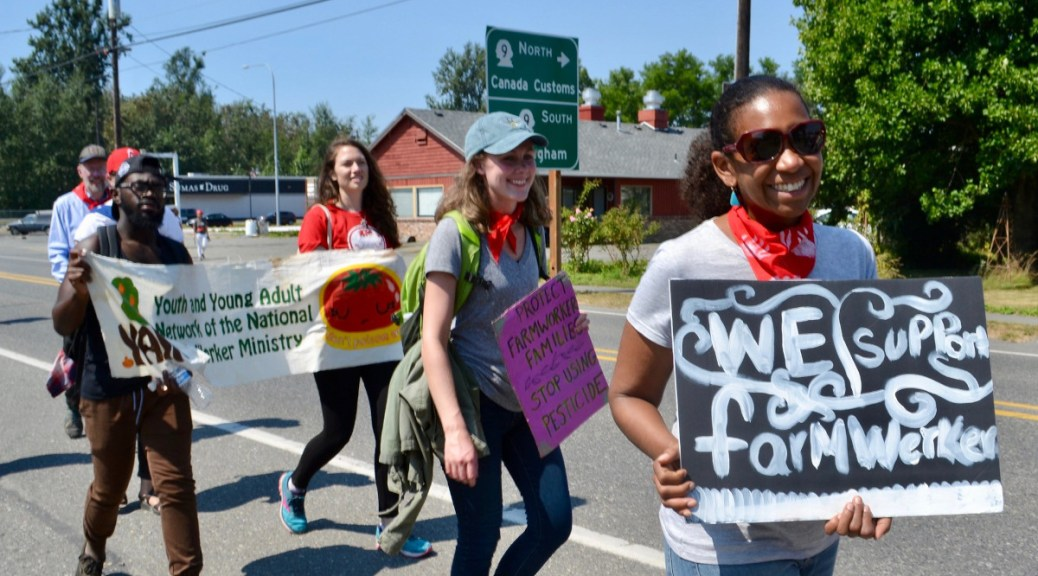 Featured Image: Rally in support of farmworkers in Bellingham, WA in 2018. Photo by Alexandria Jonas via Flickr under a Creative Commons license CC BY-SA 2.0.