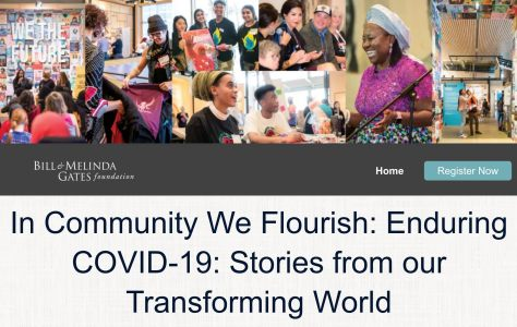 """Banner image with various photographs of community members in various activities. Text reads """"In Community We Flourish: Enduring COVID-19: Stories from our Transforming World."""""""