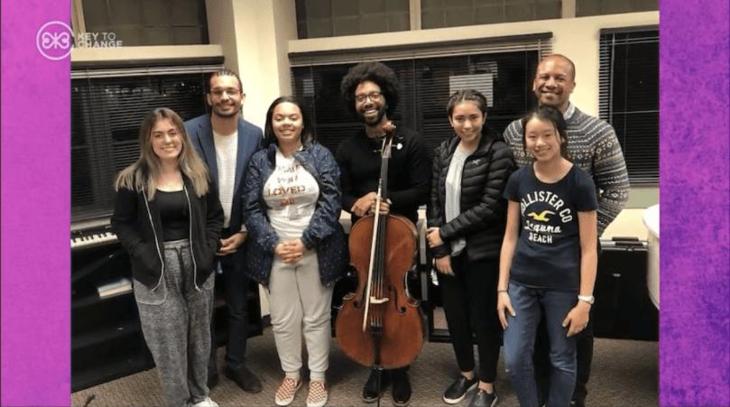 student musicians with Dr. Quinton Morris