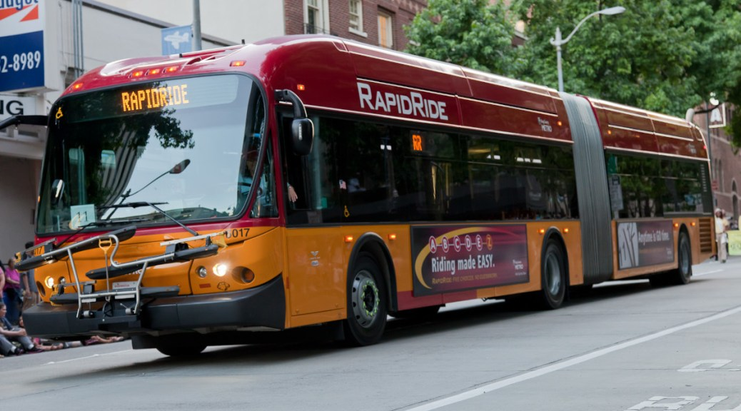 Metro bus rapid transit coach by Brett Curtiss via Flickr under a Creative Commons license CC BY-SA 2.0.