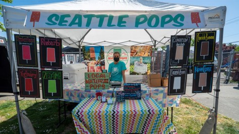 Photo of Seattle Pops' booth at the Columbia City Farmers Market.
