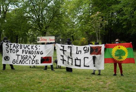 Activists hold protest signs and an Oromo flag at Seattle's Volunteer Park.