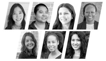 Black-and-white photographs of women and non-binary faculty of color.