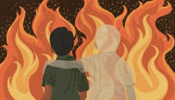 An illustration of a male-presenting youth staring at flames, a ghost male-presenting youth has his arm around the other's shoulder.