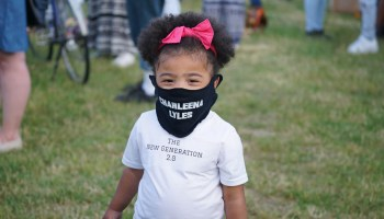 A young attendee a the Vigil of Remembrance for Charleena Lyles, June 18 at Magnuson Park. (photo by Susan Fried)
