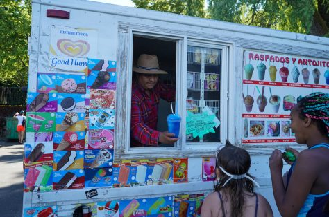 An ice cream truck pulled up to Mount Baker Park Wednesday June 23rd and a line quickly formed as beach goers took advantage of another way to beat the heat. (photo: Susan Fried)
