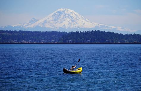 A small boat makes its way across Lake Washington on a hot June afternoon. (photo: Susan Fried)