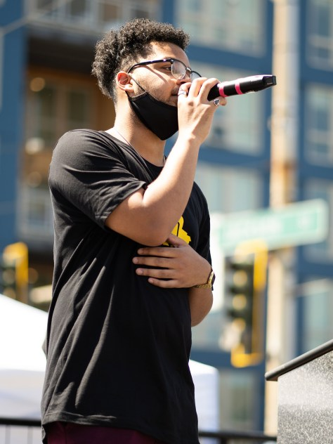 Local Black artist Unapologetically Jason sings the Black National Anthem.