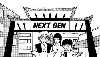 """Comic strip featuring an Asian-presenting senior and two youth standing under an archway that reads """"Next Gen."""""""