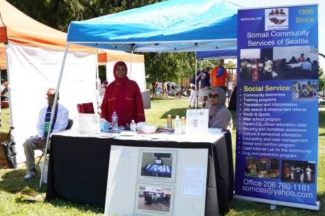 Somali Community Services of Seattle were vendors for the It Takes a Village event at Othello Park.