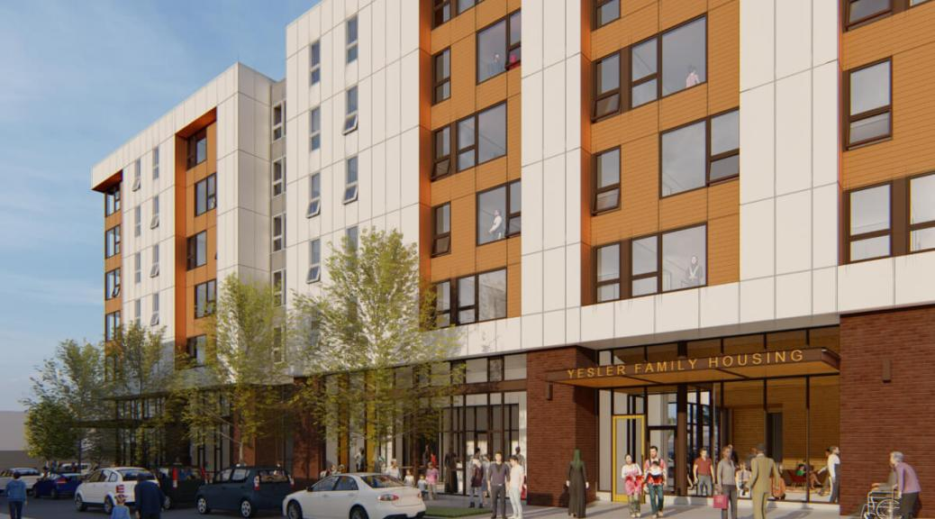 Yesler Family Housing, a new, 156-unit affordable housing project at E. Yesler Way and 13th Ave, will open in 2023. Rendering by Mithun, courtesy of Seattle Chinatown International District Preservation and Development Authority (SCIDpda) and Community Roots Housing (CRH).