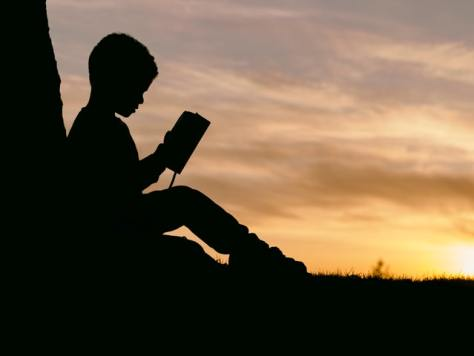 Silhouette of male-presenting youth reading a book against a sunset.