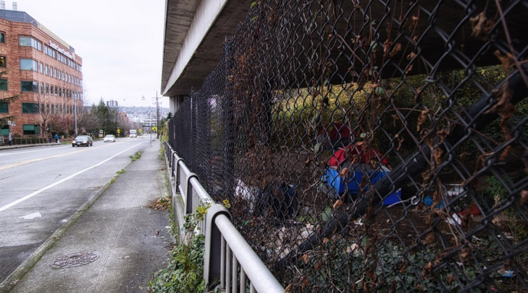 Photo through a chain-link gate of a homeless tent under an overpass.