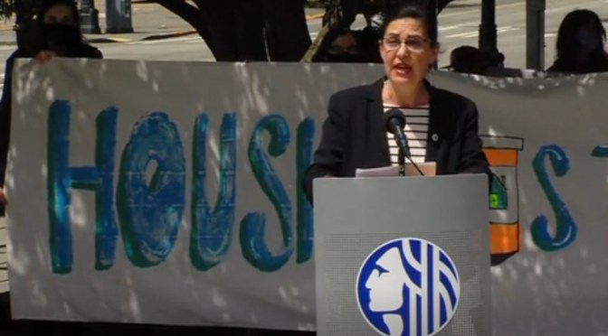 Seattle City Councilmember Tammy Morales at a rally in support of renter assistance legislation in May.